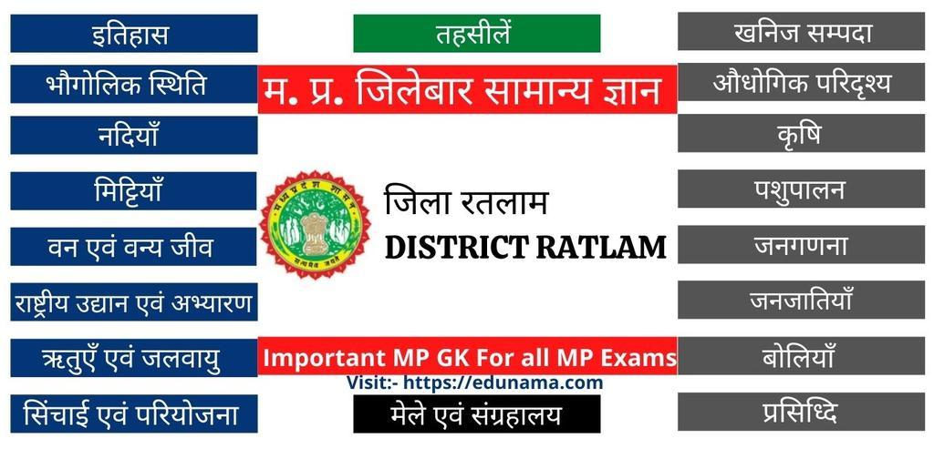 जिला रतलाम जनरल नॉलेज - Ratlam Jila GK (MP GK )