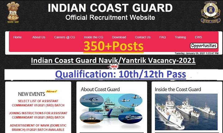 Indian Coast Guard Navik Yantrik Recruitment 2021
